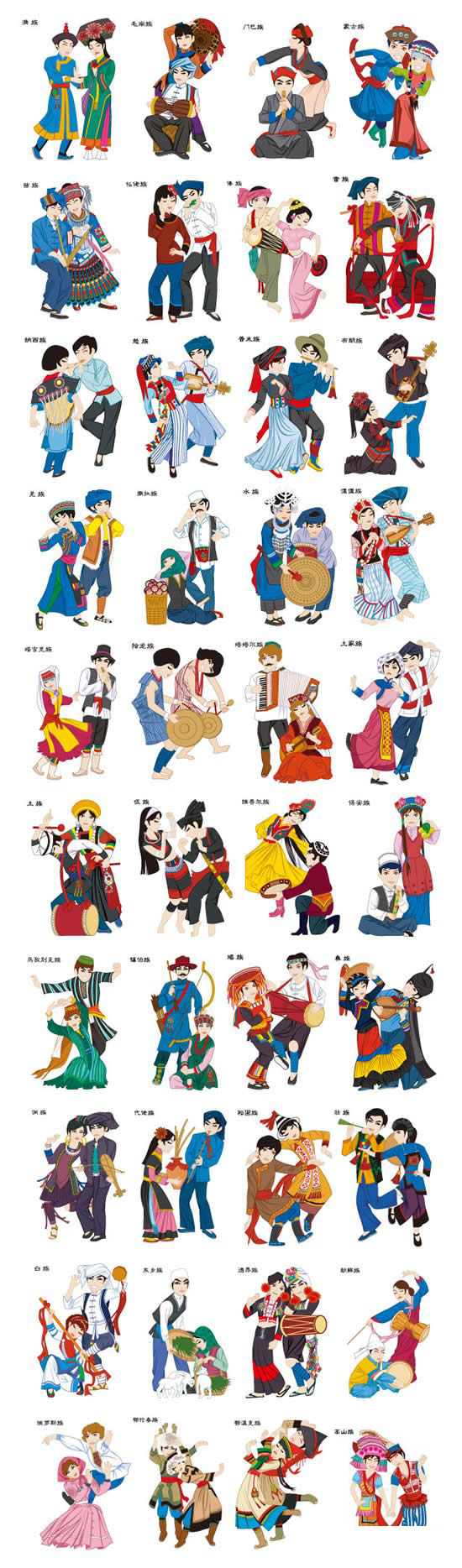 China's 56 ethnic groups singing and dancing people vector