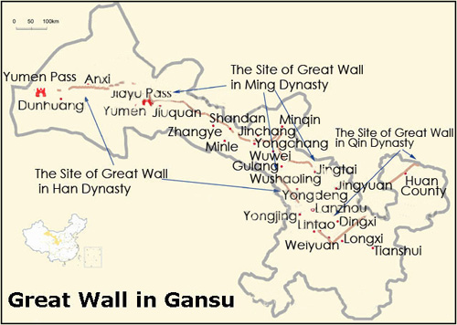 Gansu Great Wall Map