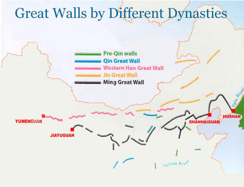 Map Of China Great Wall In History Qin Han Ming Dynasty