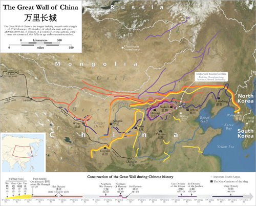 Map of the Great Wall of Chinap