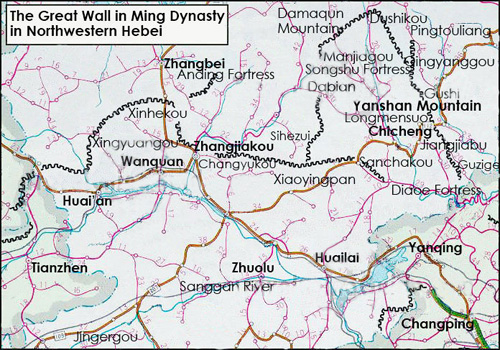 Northwest Hebei Great Wall Map