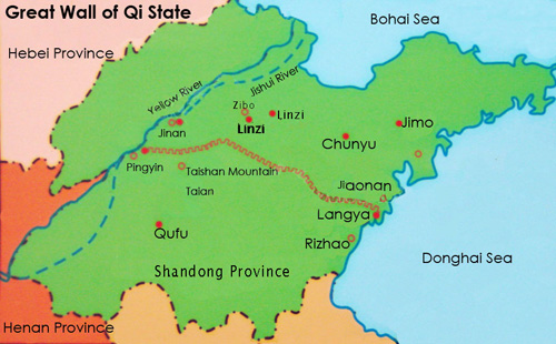 Great Wall Of China Map Of Great Wall Of Qi State