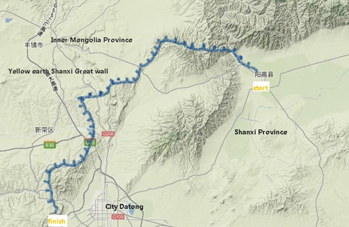 Shanxi China Map.Great Wall Of China Map Of Great Wall Of Shanxi