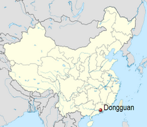 The Location of Dongguanin China Map