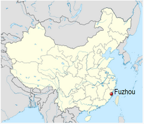 The Location of Fuzhouin China Map