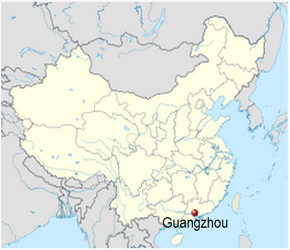 The Location of Guangzhouin China Map