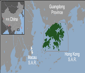 The Location of Hongkongin China Map