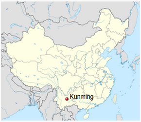 The Location of Kunmingin China Map