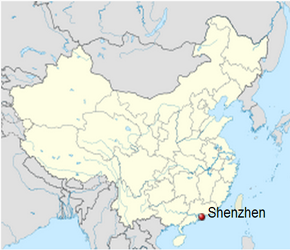 The Location of Shenzhenin China Map
