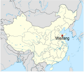 The Location of Weifangin China Map