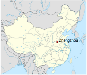 The Location of Zhengzhouin China Map