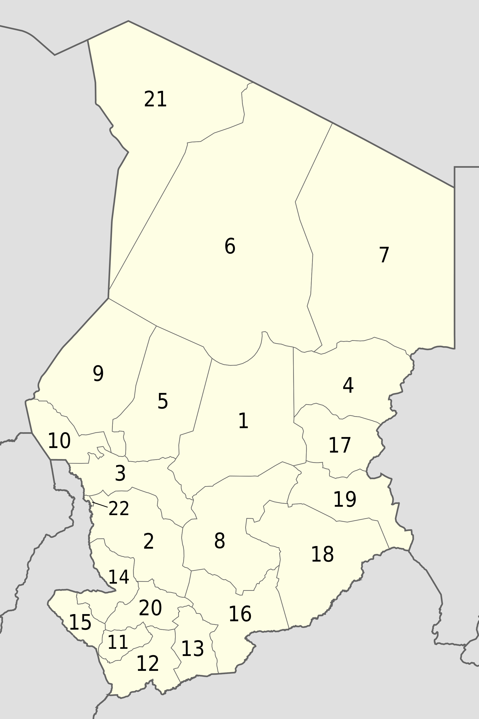 Chad Administrative divisions Map