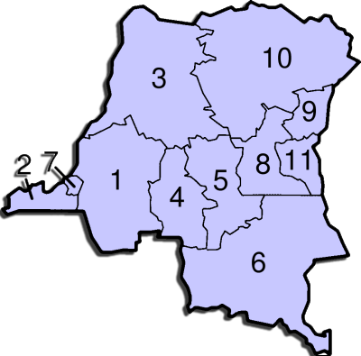 D.R.Congo Administrative divisions Map