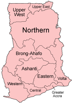 Ghana Administrative divisions Map