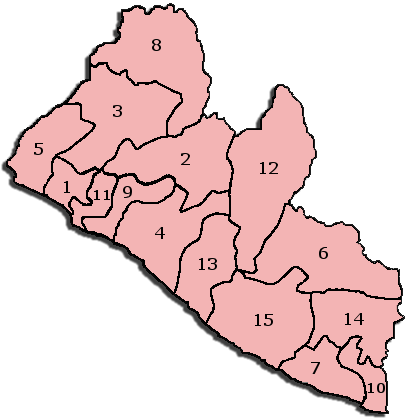 Liberia Administrative divisions Map