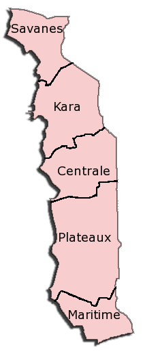 Togo Administrative divisions Map