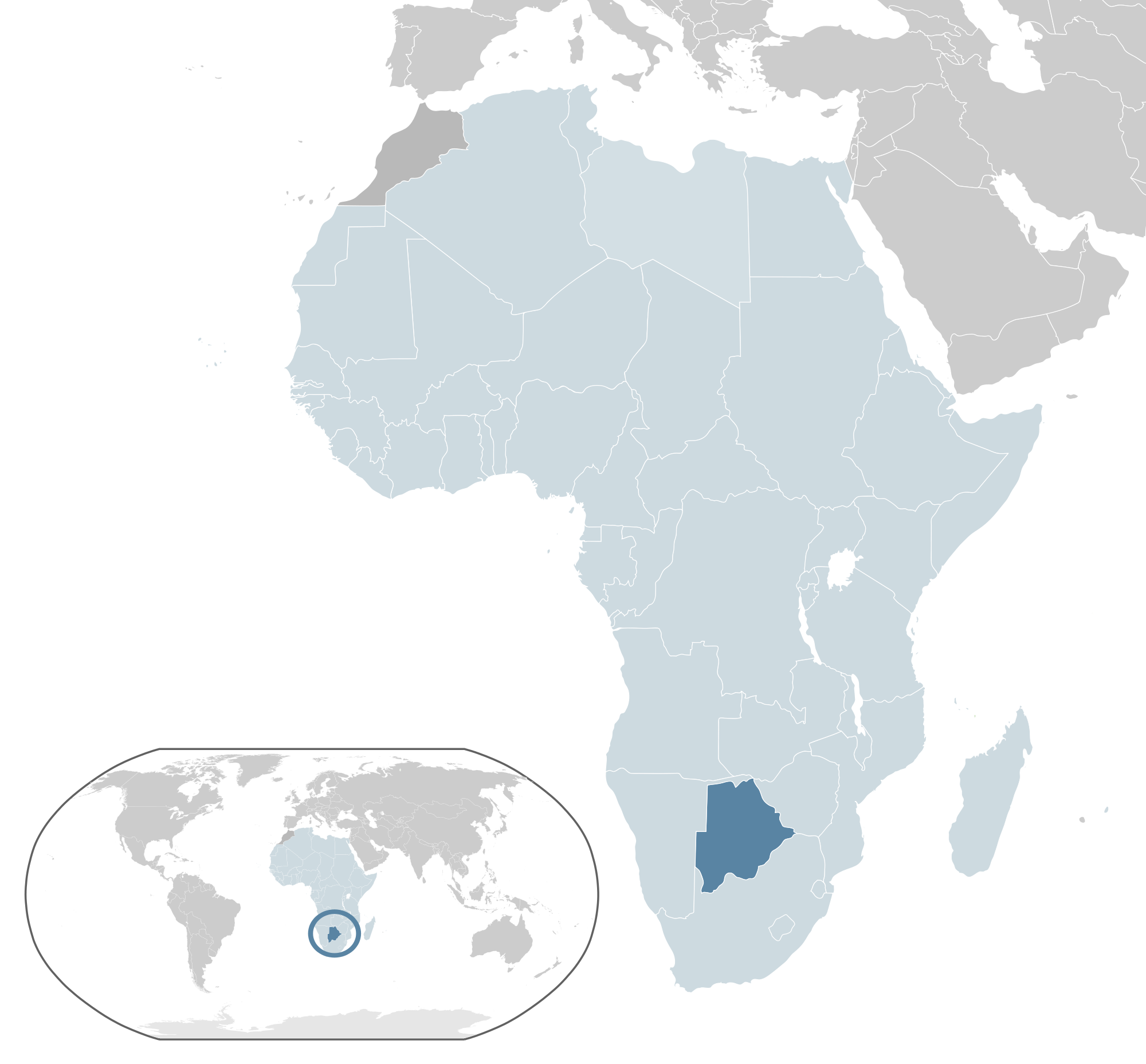 Location of the Botswana in the World Map