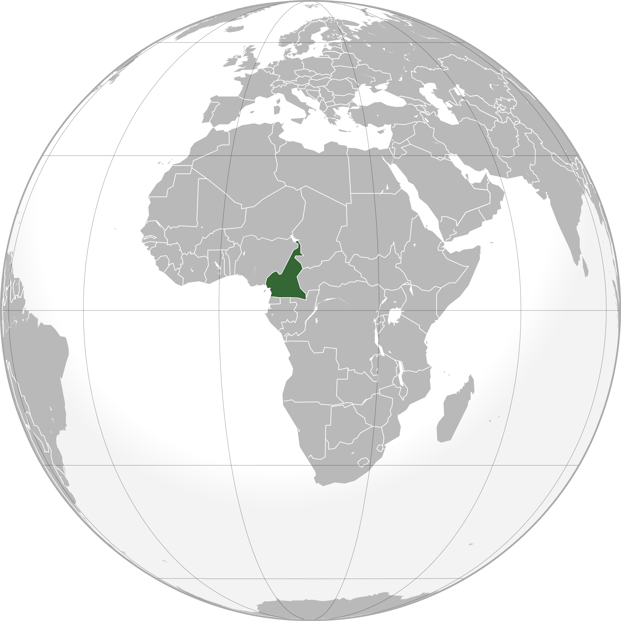 Location of the Cameroon in the World Map