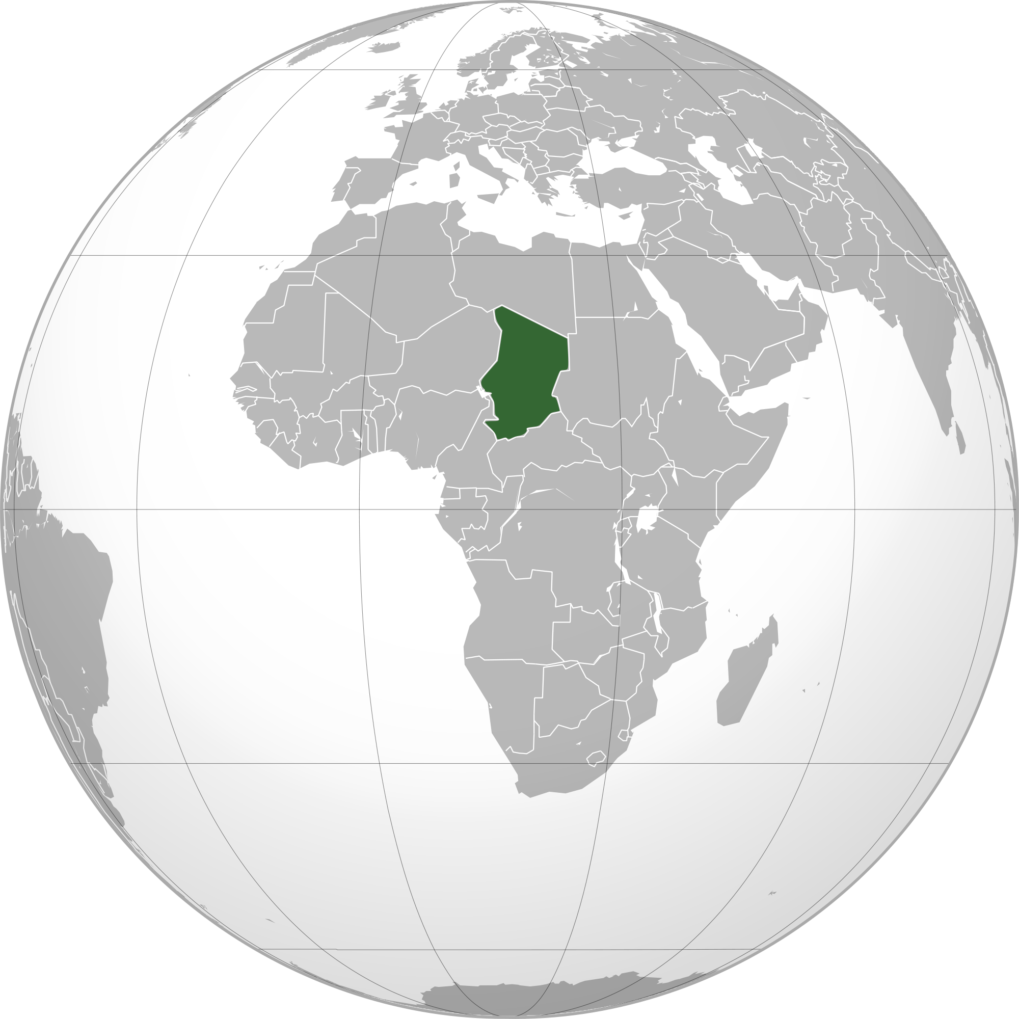 Location of the Chad in the World Map