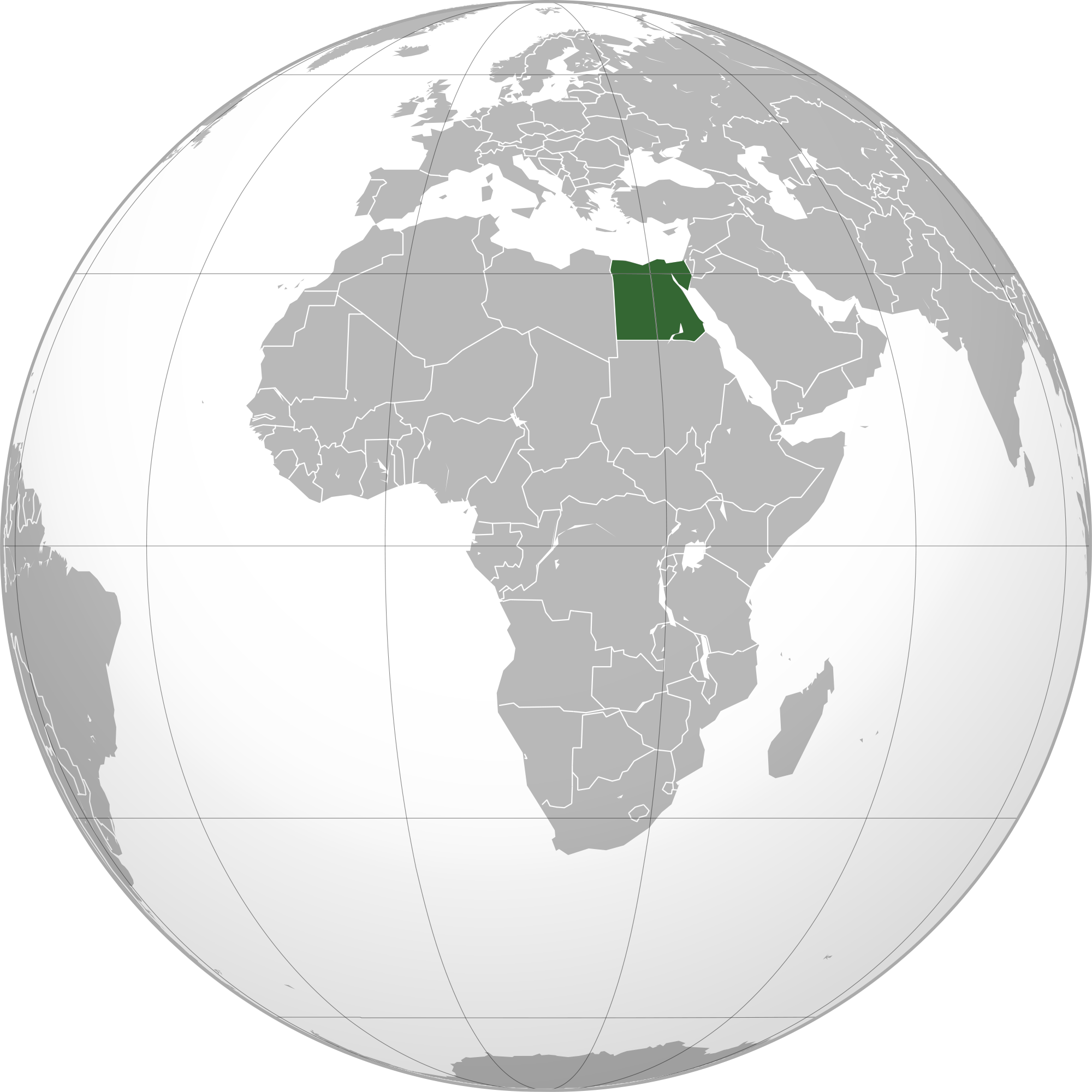 Location of the Egypt in the World Map