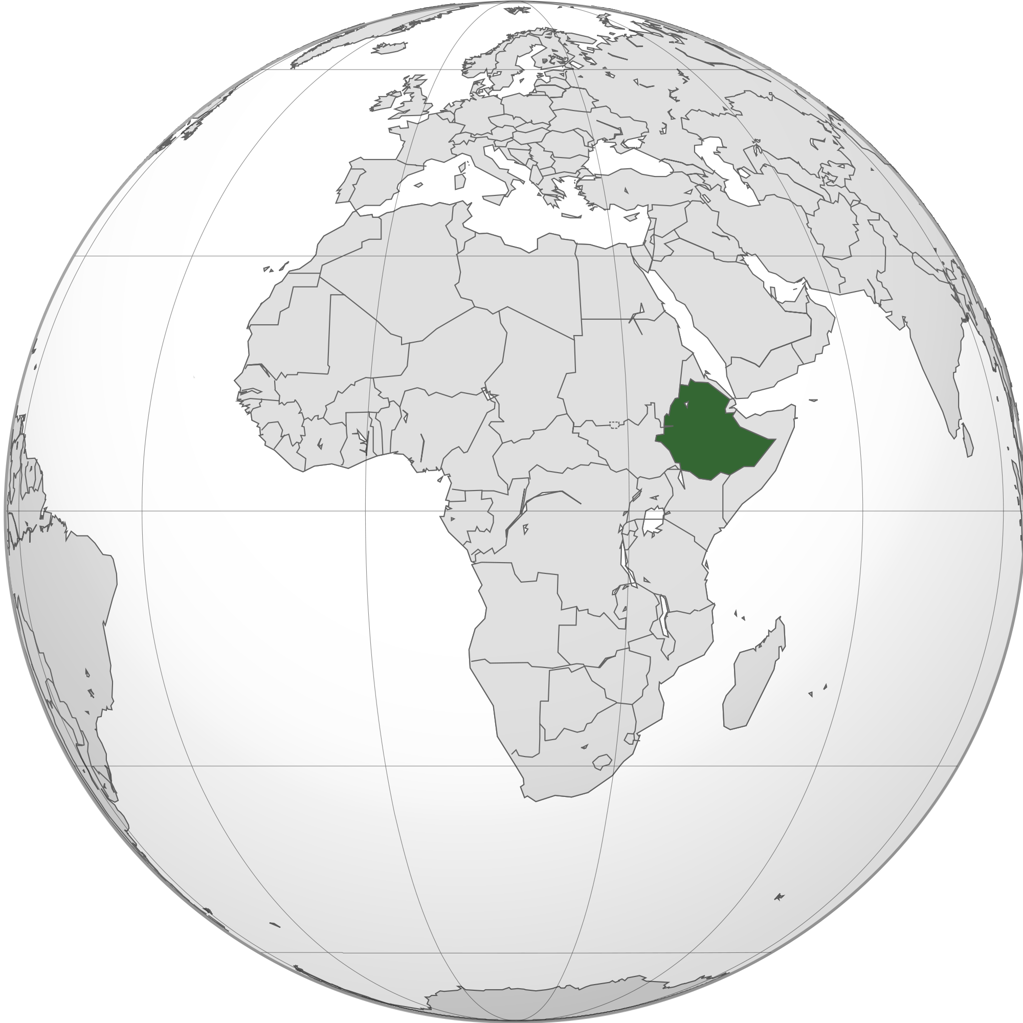 Location of the Ethiopia in the World Map