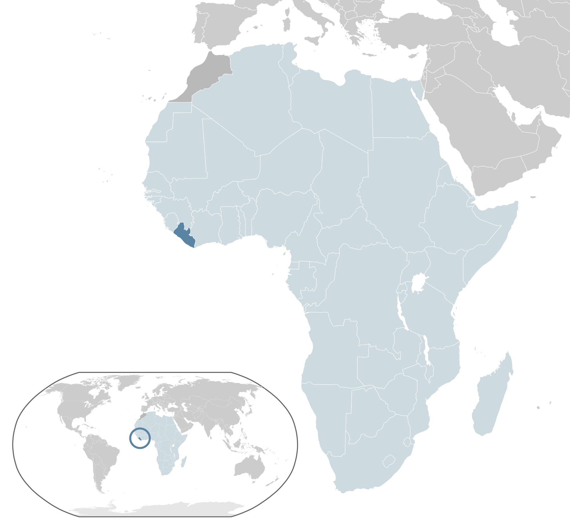 Location Of The Liberia In The World Map