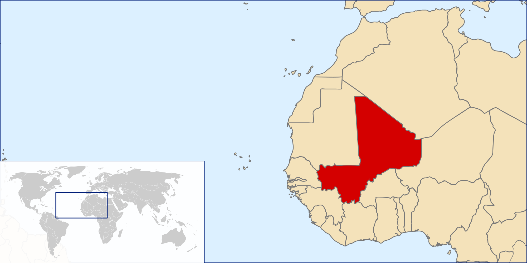 Location Of The Mali In The World Map