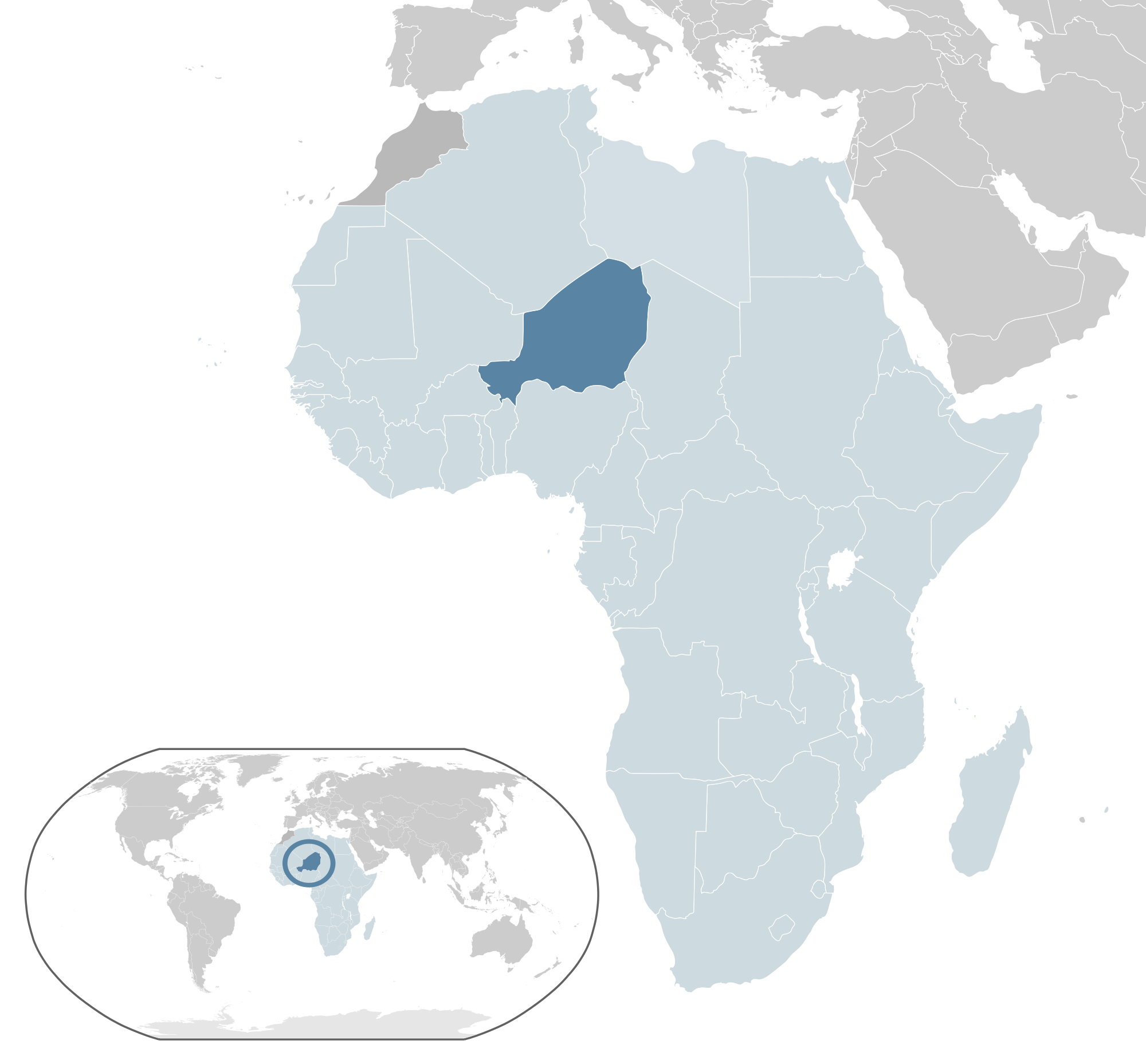 Location of the Niger in the World Map