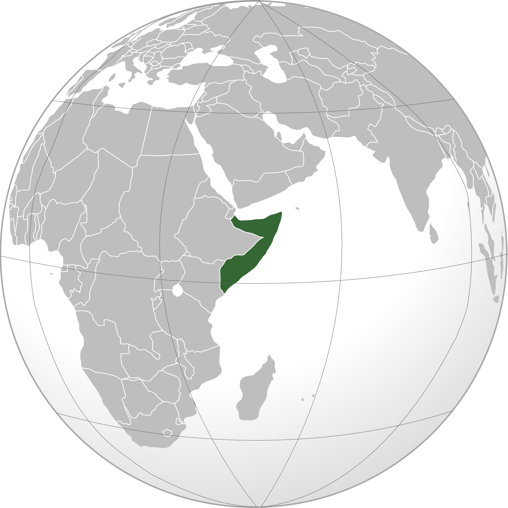 Location of the Somalia in the World Map