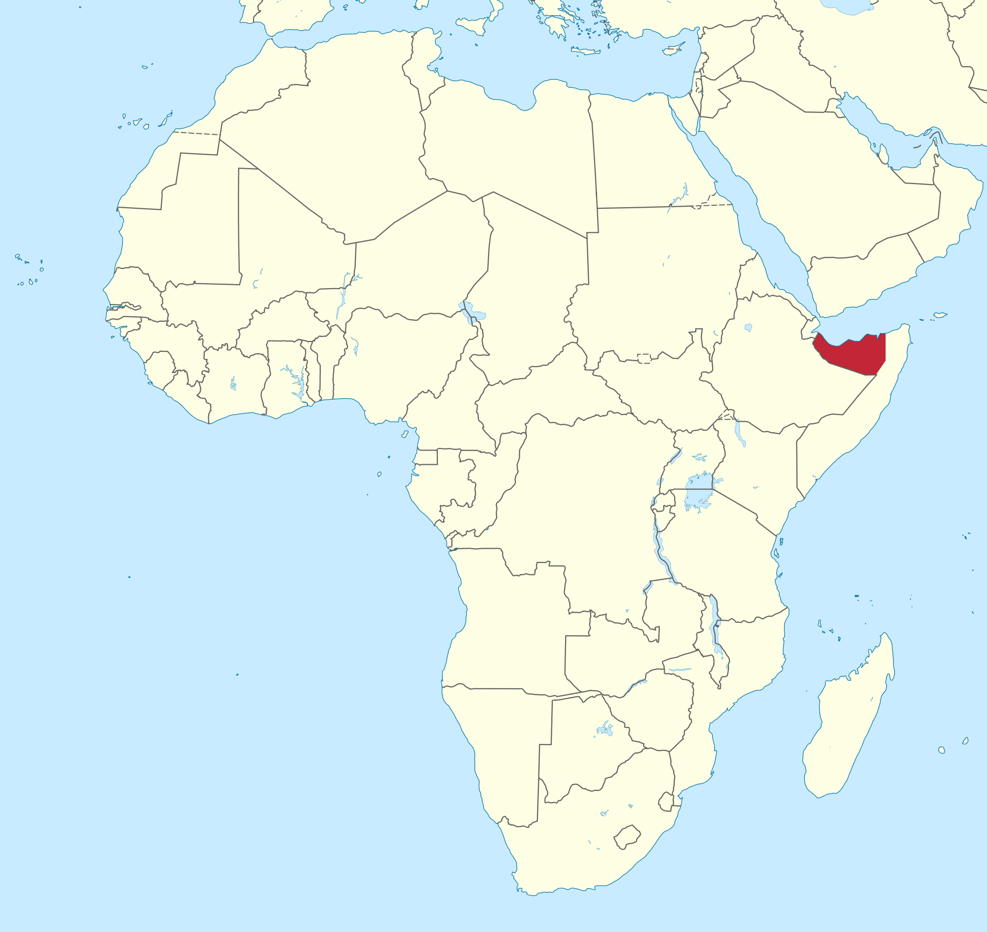 Location of the Somaliland in the World Map