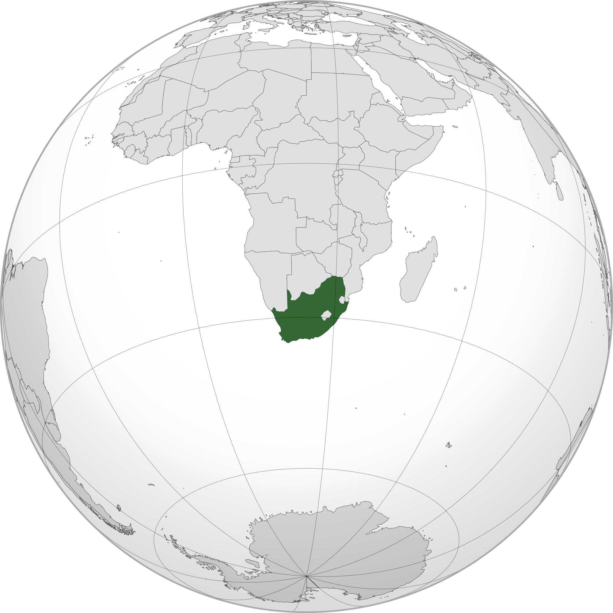 south africa map in globe
