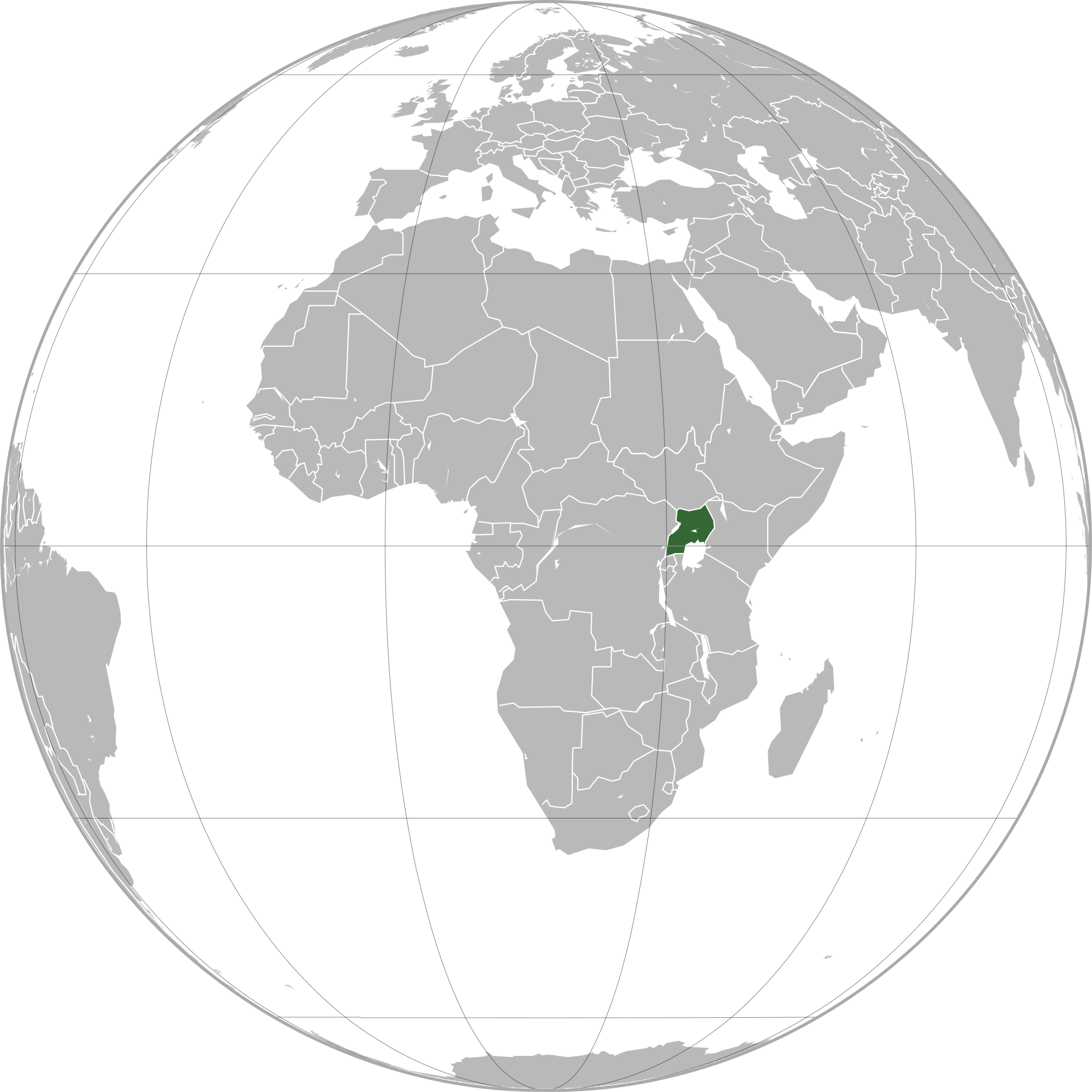 Location of the Uganda in the World Map