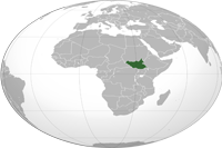 South Sudan Location in World Map