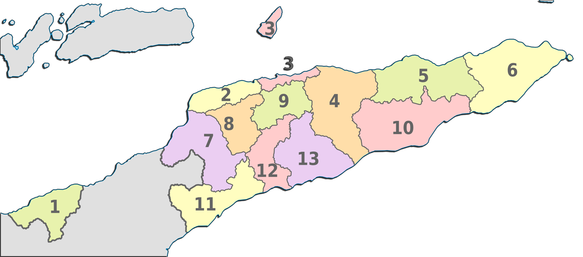 East Timor Administrative divisions Map