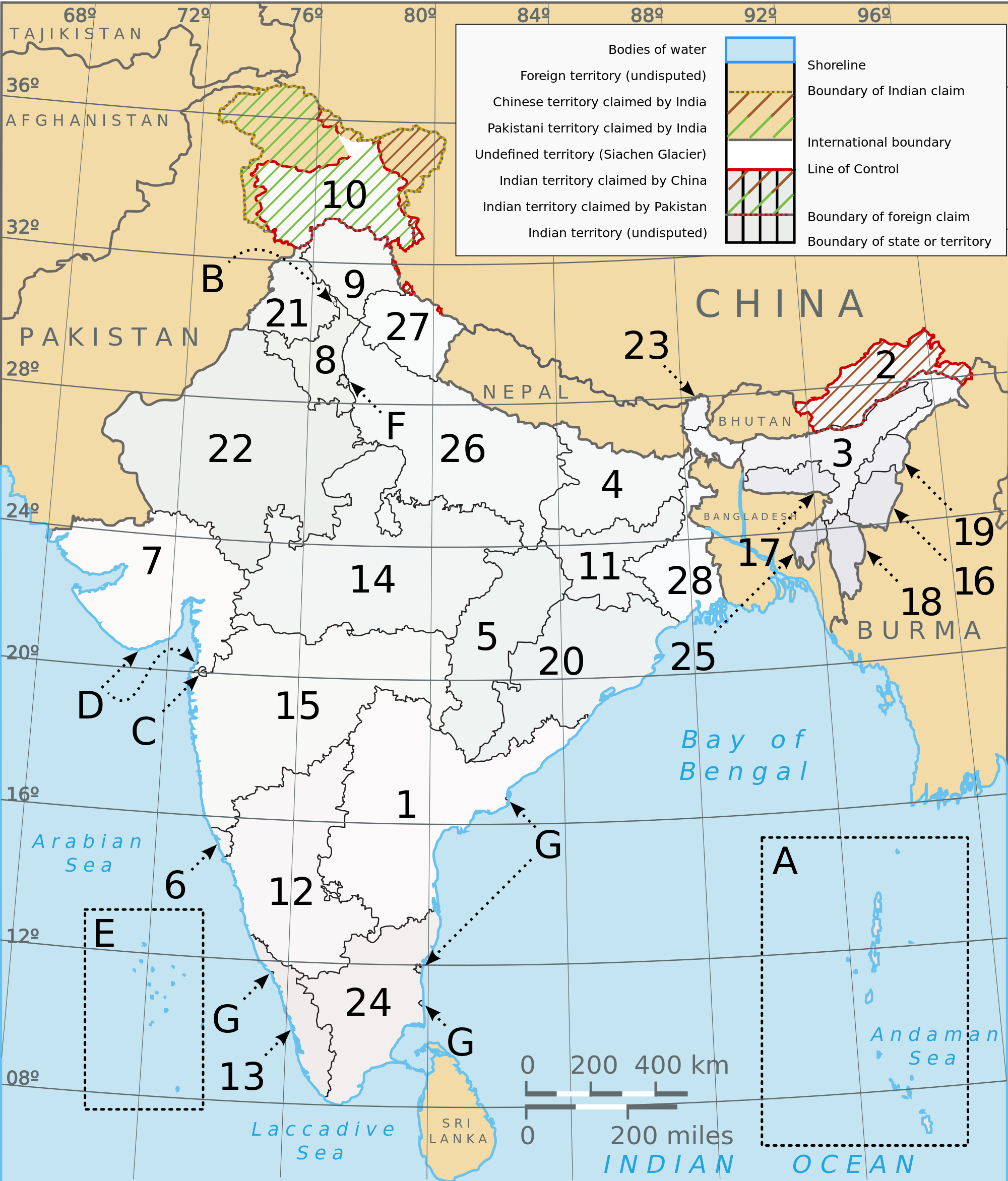 india Administrative divisions Map