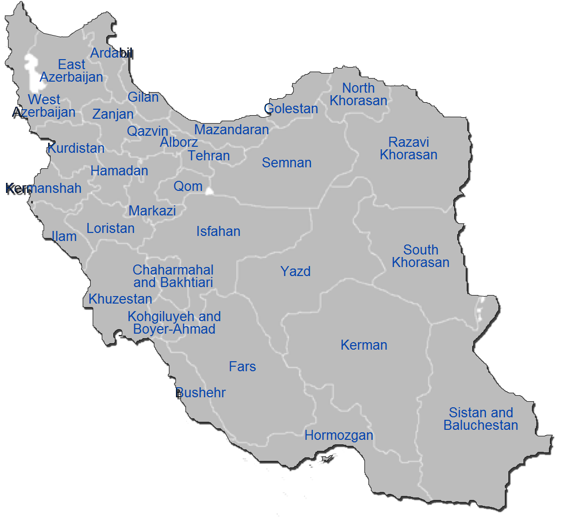 Iran Administrative divisions Map