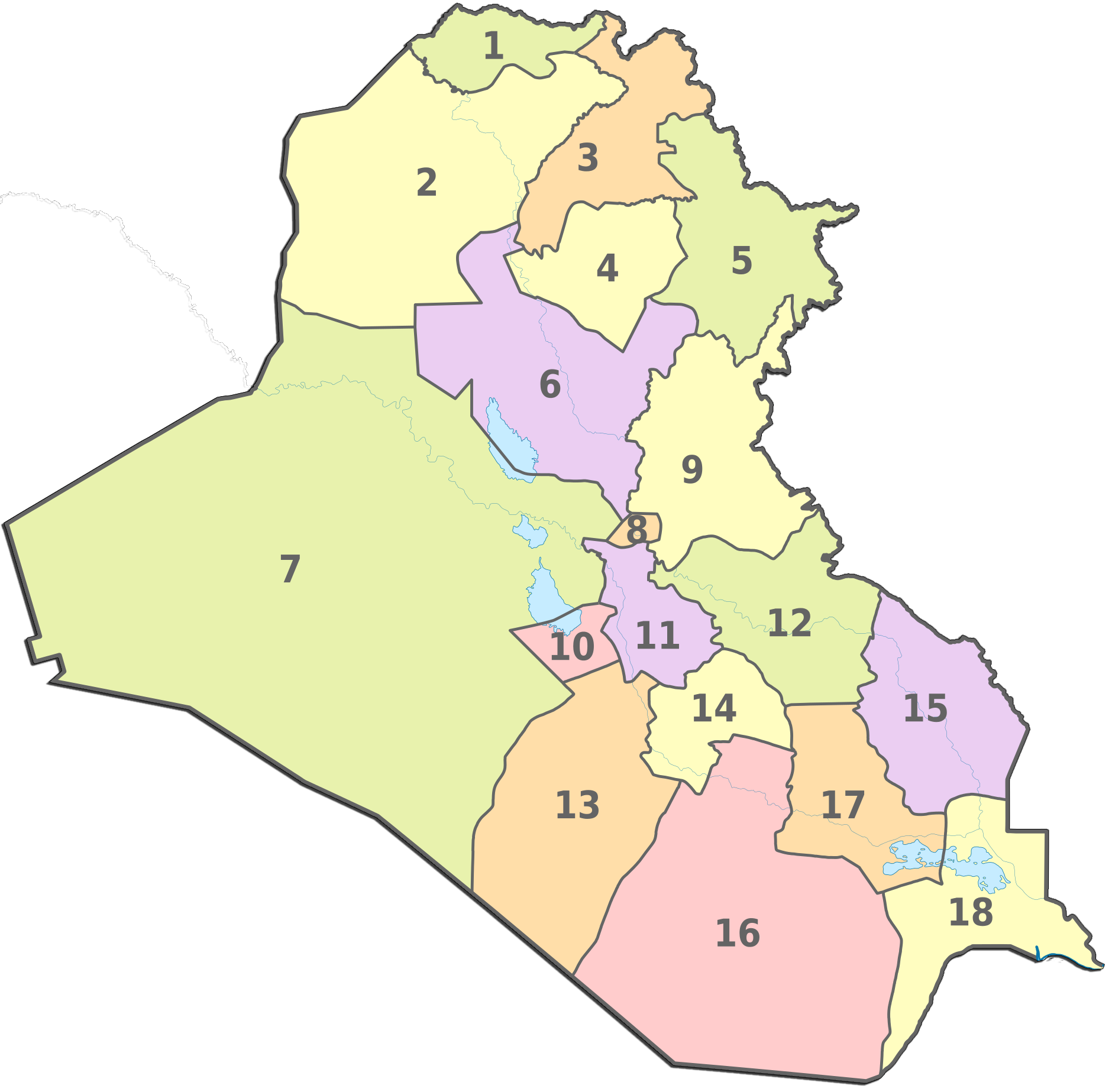 Iraq Administrative divisions Map