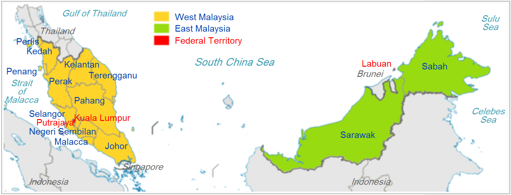 Malaysia Administrative divisions Map