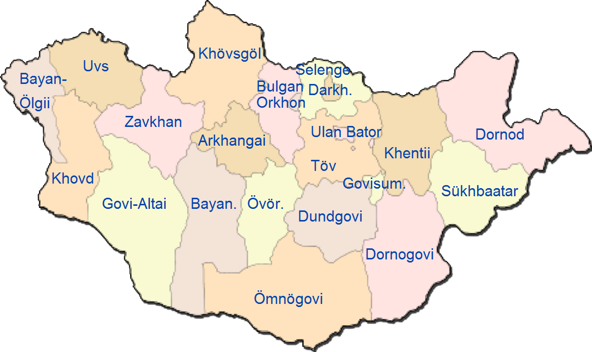 Mongolia Administrative divisions Map