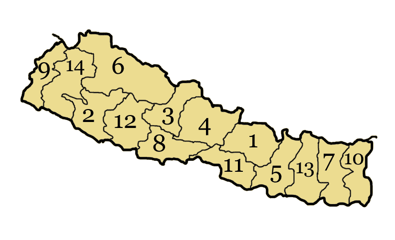Nepal Administrative divisions Map