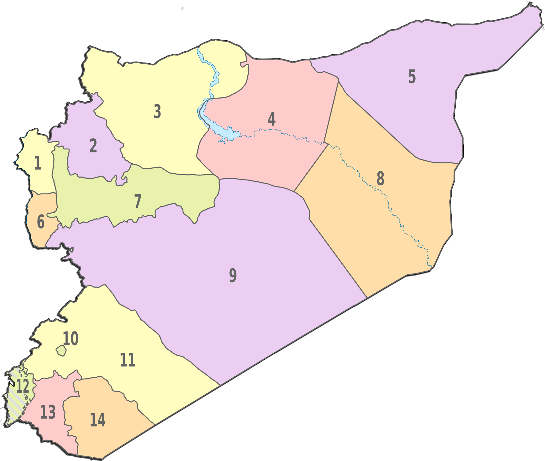 Syria Administrative divisions Map