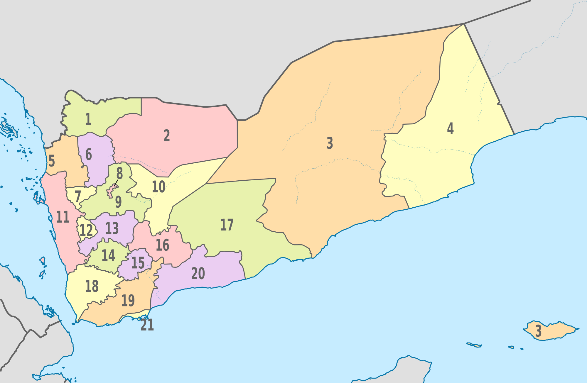 Yemen Administrative divisions Map