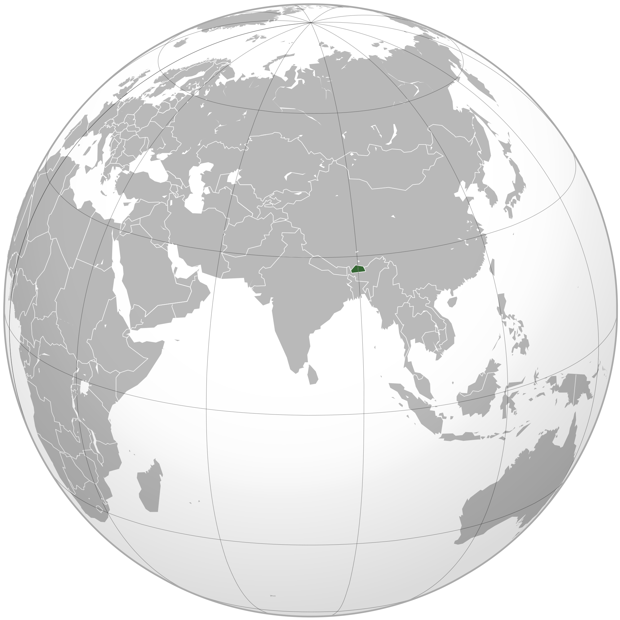 Location of the Bhutan in the World Map
