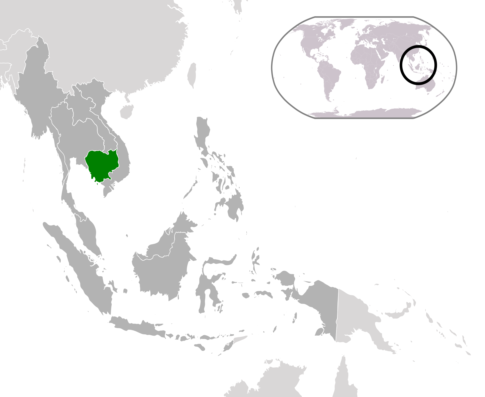 Location of the Cambodia in the World Map