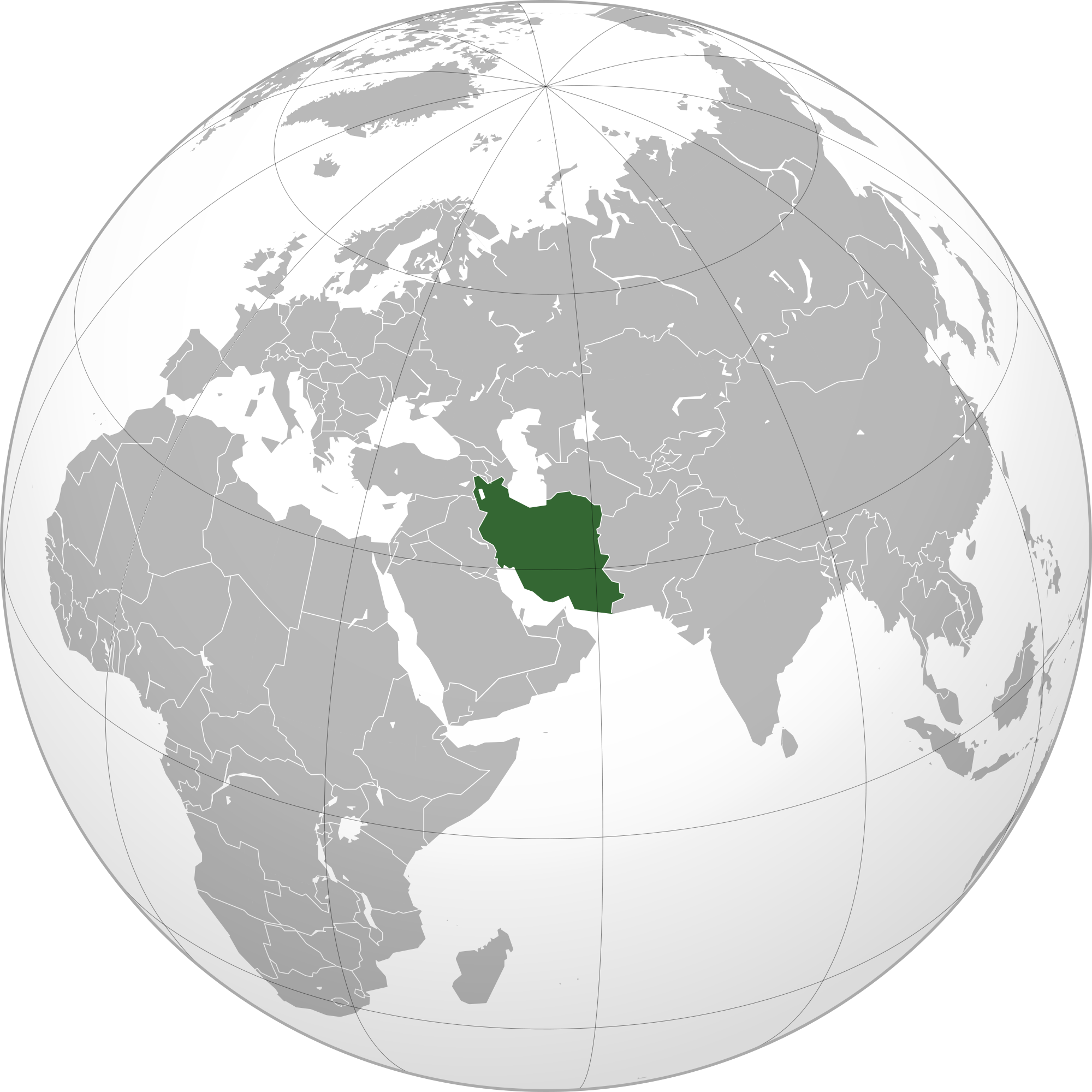 Location of the Iran in the World Map