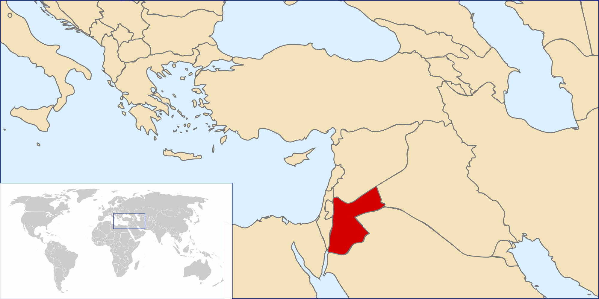 Location of the Jordan in the World Map