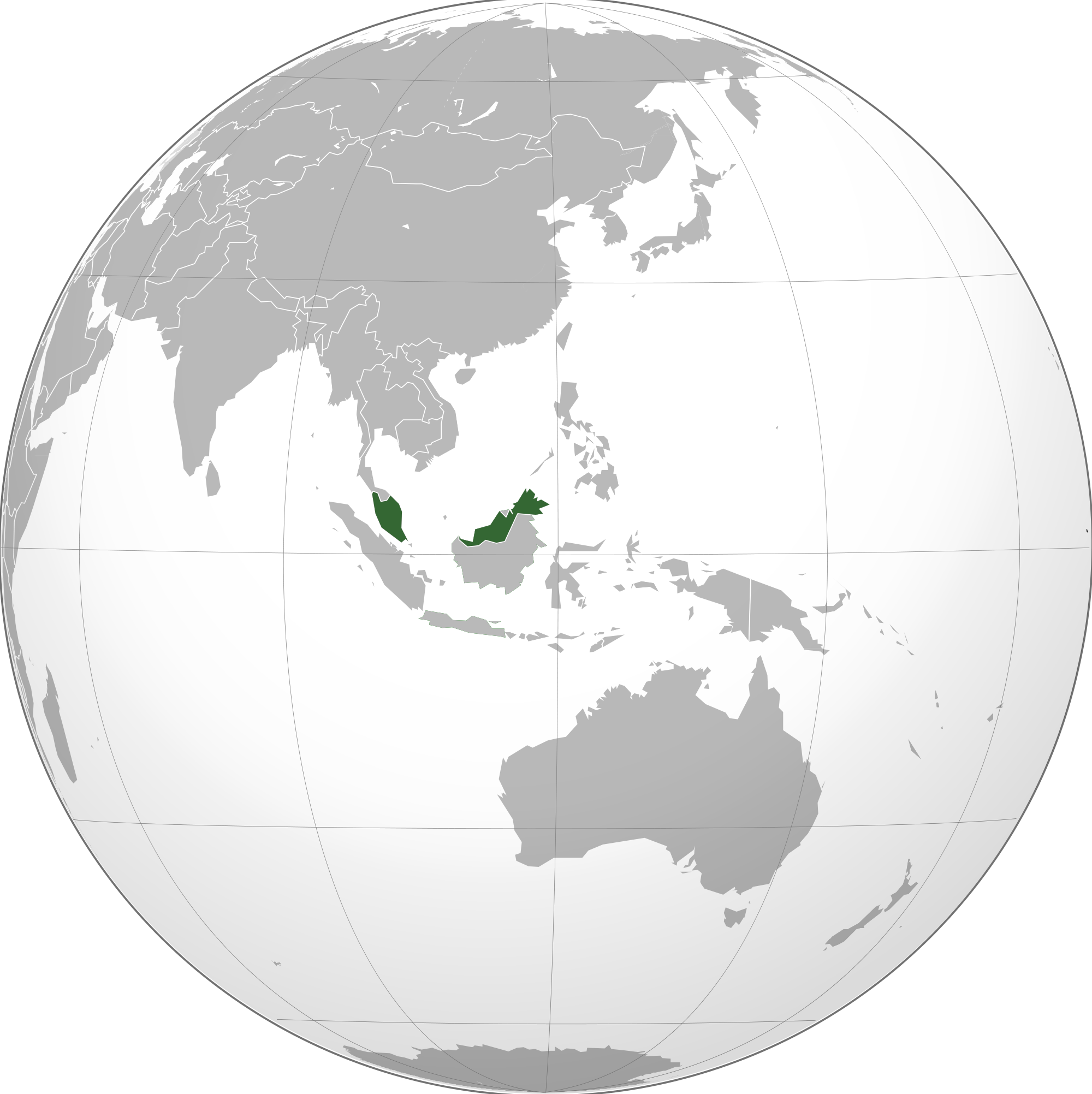 Location of the Malaysia in the World Map