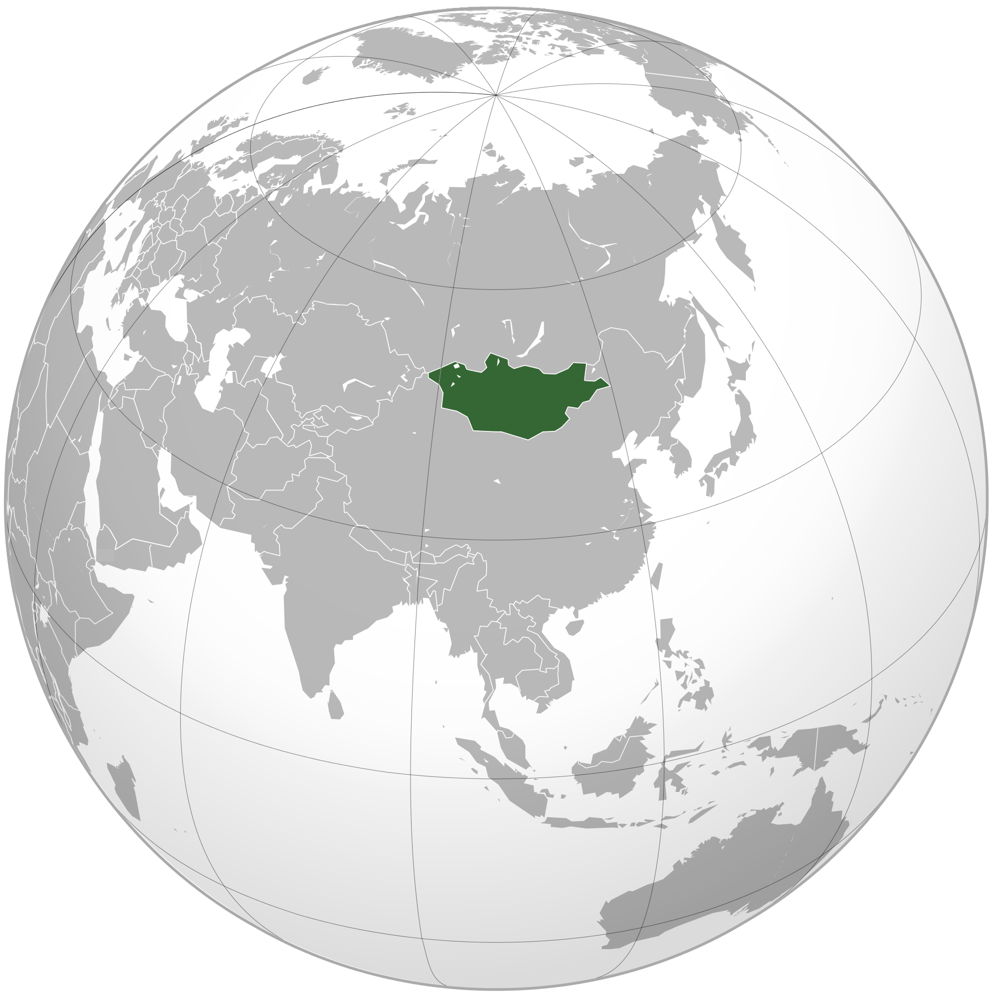 Location of the Mongolia in the World Map