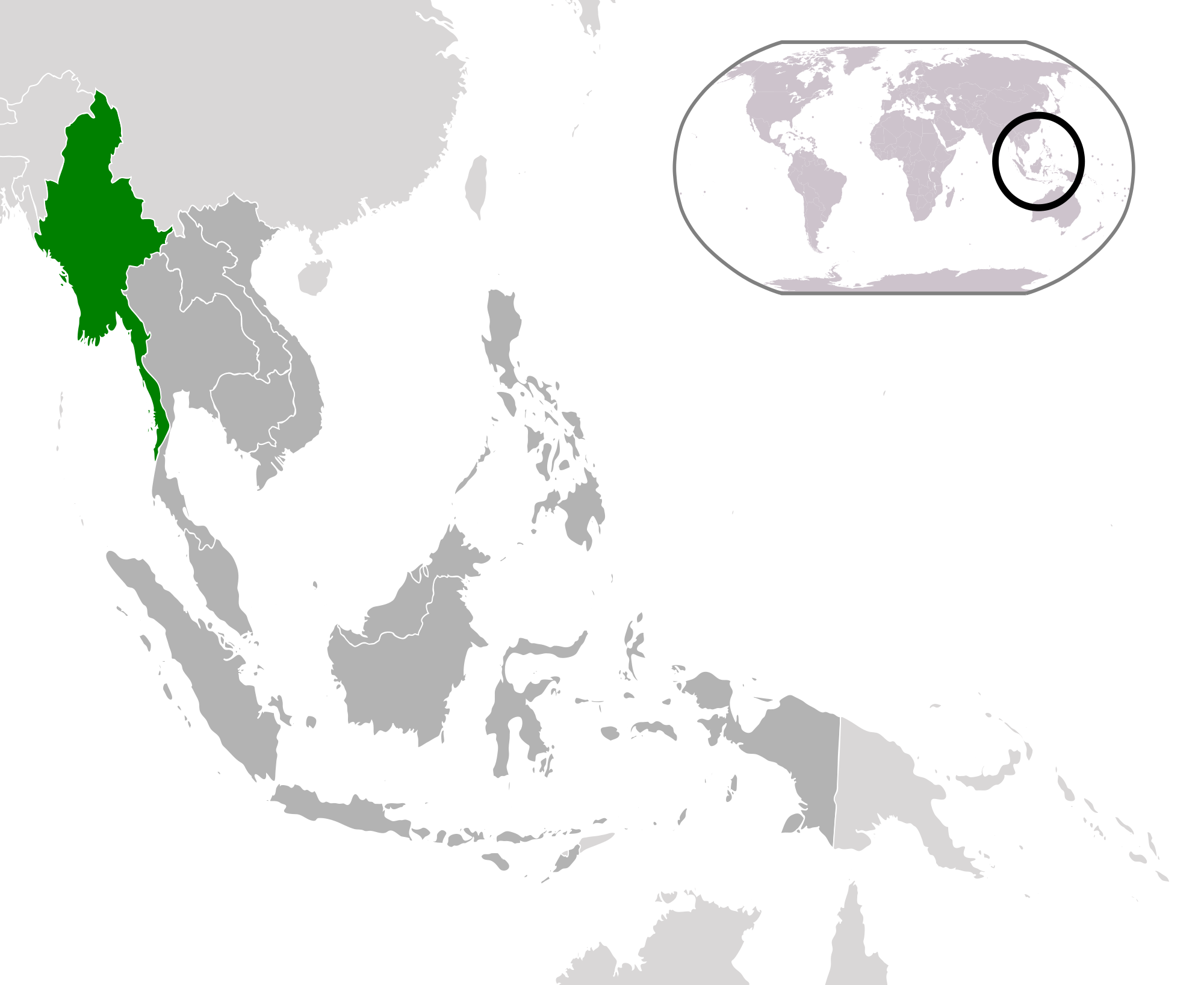 Location Of The Myanmar In The World Map