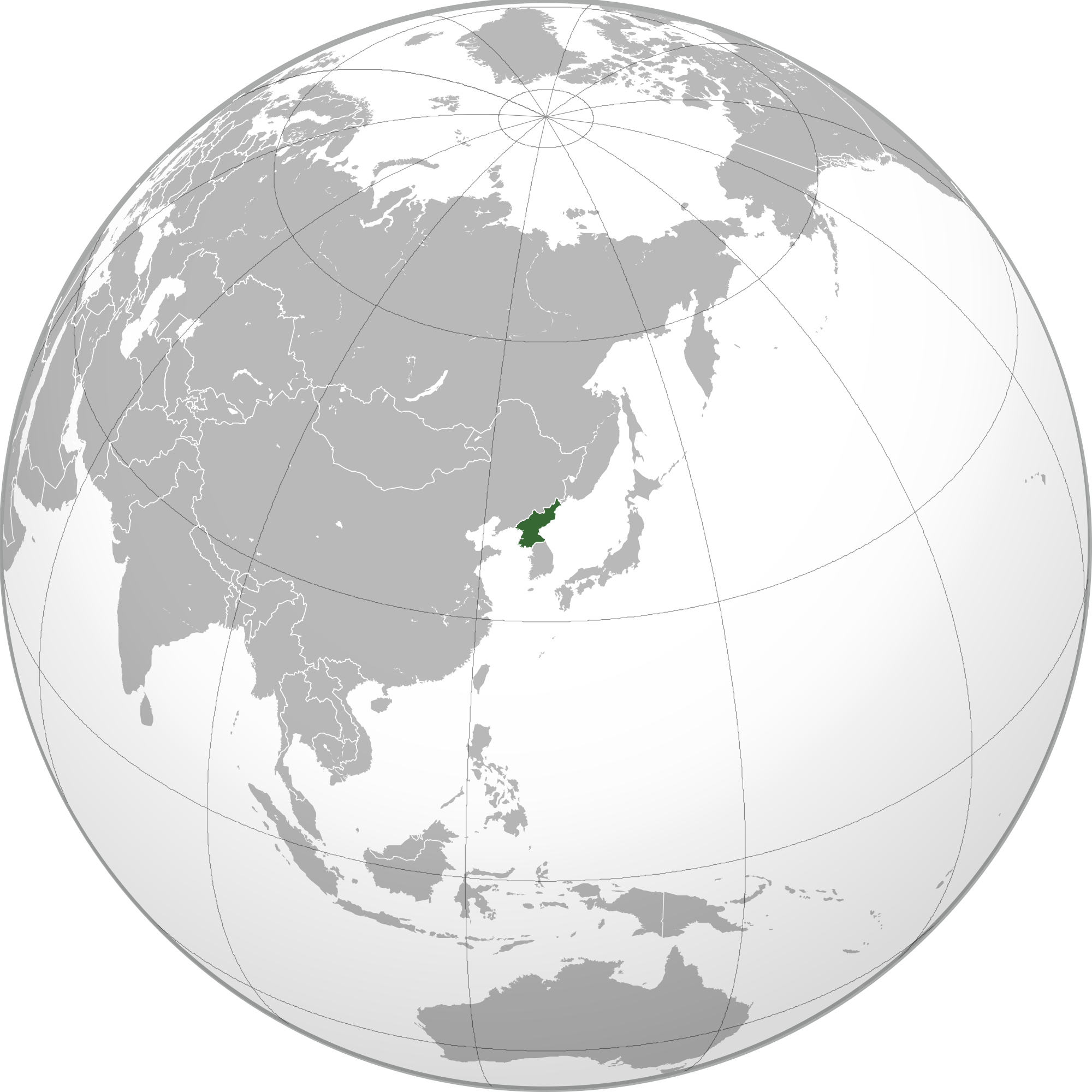 Location of the North Korea in the World Map
